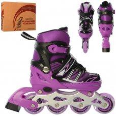 Детские раздвижные роликовые коньки размер 31-34 PROFI A4139-S-V фиолетовый
