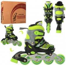 Детские раздвижные роликовые коньки размер 27-30 PROFI A4139-XS-GR зеленый