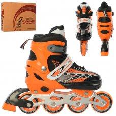 Детские раздвижные роликовые коньки размер 35-38 PROFI A4140-M-OR оранжевый