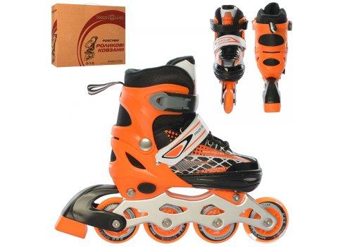 Детские раздвижные роликовые коньки размер 31-34 PROFI A4140-S-OR оранжевый