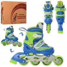Раздвижные детские роликовые коньки размер 27-30 PROFI A4140-XS-BL сине-зеленый