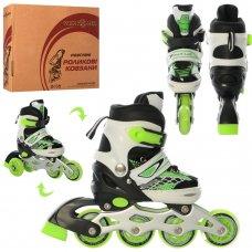 Раздвижные детские роликовые коньки размер 27-30 PROFI A4140-XS-GR зеленый