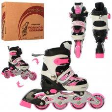 Раздвижные детские роликовые коньки размер 27-30 PROFI A4140-XS-P розовый