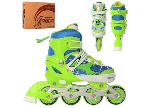 Детские раздвижные роликовые коньки размер 35-38 PROFI A4141-M-GR зеленый