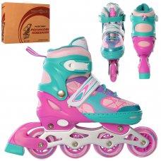Детские раздвижные роликовые коньки размер 35-38 PROFI A4141-M-V фиолетово-бирюзовый