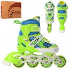 Детские раздвижные роликовые коньки размер 31-34 PROFI A4141-S-GR зеленый