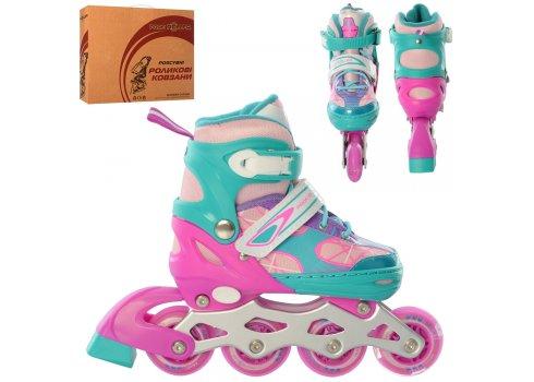 Детские раздвижные роликовые коньки размер 31-34 PROFI A4141-S-V фиолетово-бирюзовый