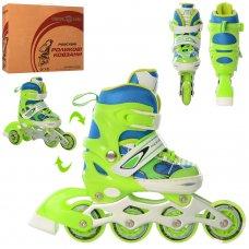 Детские раздвижные роликовые коньки размер 27-30 PROFI A4141-XS-GR зеленый
