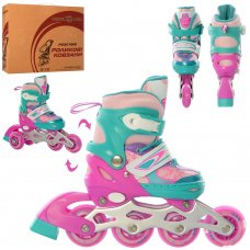 Детские раздвижные роликовые коньки размер 27-30 PROFI A4141-XS-V фиолетово-бирюзовые