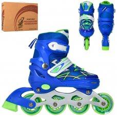 Детские раздвижные роликовые коньки размер 31-34 PROFI A4142-S-BL синий