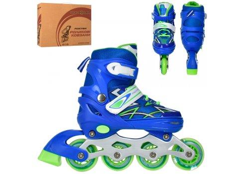 Детские раздвижные роликовые коньки размер 35-38 PROFI A4142-M-BL синий