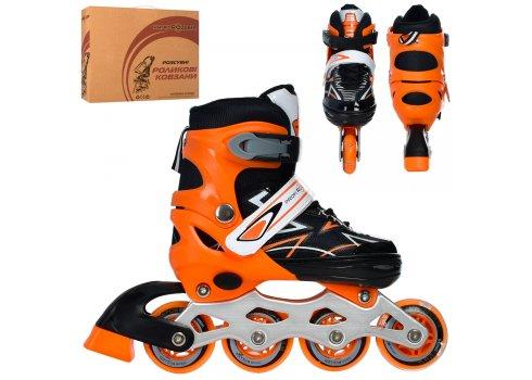 Детские раздвижные роликовые коньки размер 35-38 PROFI A4142-M-OR оранжевый