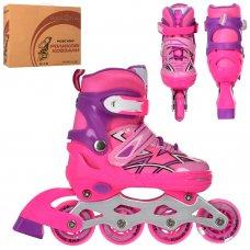 Детские раздвижные роликовые коньки размер 35-38 PROFI A4142-M-P розовый