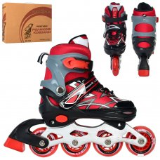 Детские раздвижные роликовые коньки размер 31-34 PROFI A4142-S-R красный