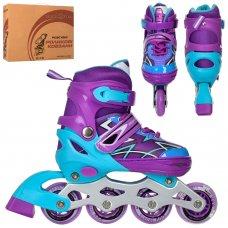 Детские раздвижные роликовые коньки размер 35-38 PROFI A4142-M-V фиолетовый