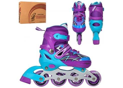 Детские раздвижные роликовые коньки размер 39+ PROFI A4142-L-V фиолетовый