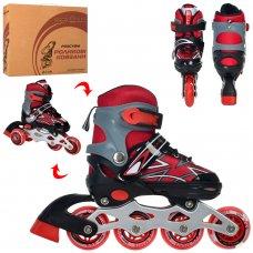 Детские раздвижные роликовые коньки размер 35-38 PROFI A4142-M-R красный