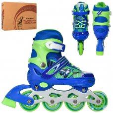 Детские раздвижные роликовые коньки размер 31-34 PROFI A4143-S-BL синий