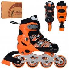Детские раздвижные роликовые коньки размер 31-34 PROFI A4143-S-OR оранжевый