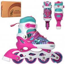 Детские раздвижные роликовые коньки размер 31-34 PROFI A4143-S-P розовый