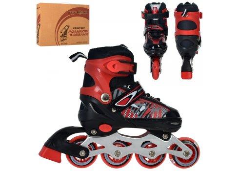 Детские раздвижные роликовые коньки размер 31-34 PROFI A4143-SR красный