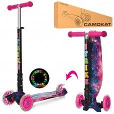 Самокат детский трехколесный со светящимися колесами iTrike Maxi JR 3-003-1-WP1 розовый