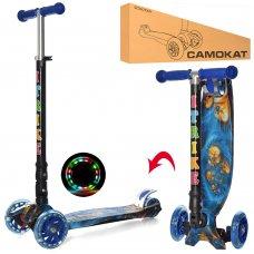Самокат детский трехколесный со светящимися колесами iTrike Maxi JR 3-003-1-WP3 синий