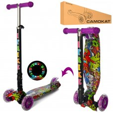 Самокат детский трехколесный со светящимися колесами iTrike Maxi JR 3-003-1-WP5 фиолетовый