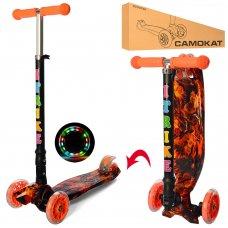 Самокат детский трехколесный со светящимися колесами iTrike Maxi JR 3-003-1-WP7 оранжевый