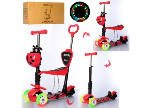 Детский самокат-беговел 5-в-1 ITRIKE MAXI JR 3-026-CR красный
