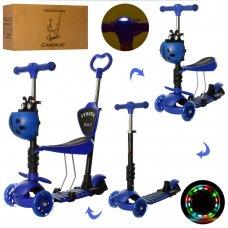 Самокат 5в1 с сиденьем и родительской ручкой + фара ITRIKE MAXI JR 3-026-L-DBL синий