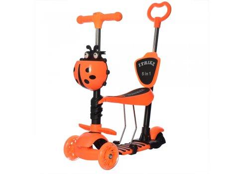 Самокат 5в1 с сиденьем и родительской ручкой + фара ITRIKE MAXI JR 3-026-L-OR оранжевый