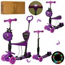 Самокат 5в1 с сиденьем и родительской ручкой + фара ITRIKE MAXI JR 3-026-L-V фиолетовый