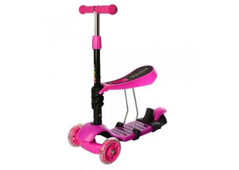 Детский самокат 5в1 iTrike maxi JR 3-026-P розовый