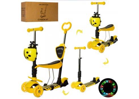 Детский самокат-беговел 5-в-1 ITRIKE MAXI JR 3-026-Y желтый