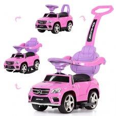 Каталка-толокар Mercedes 3в1 (качалка, родительская ручка) с кожаным сиденьем, SX1578-8 розовый