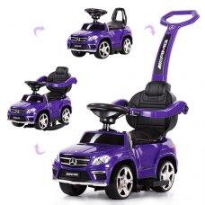 Каталка-толокар Mercedes 3в1 (качалка, родительская ручка) с кожаным сиденьем, SX1578-9 фиолетовый