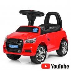 Толокар-каталка Audi на колесах с резиновым покрытием Bambi M 3147A(MP3)-3 красный