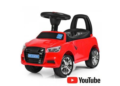 Толокар-каталка Audi на колесах с резиновым покрытием, Bambi M 3147A-3, красная