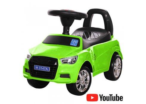 Толокар-каталка Audi на колесах с резиновым покрытием, Bambi M 3147A(MP3)-5 зеленый
