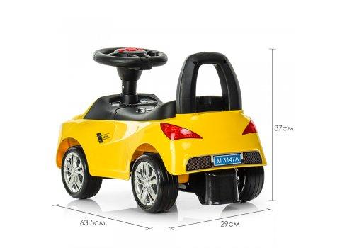 Толокар-каталка Audi на колесах с резиновым покрытием Bambi M 3147A(MP3)-6 желтый