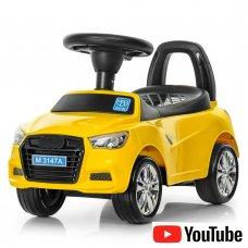 Толокар-каталка Audi на колесах с резиновым покрытием, Bambi M 3147А-6 желтая
