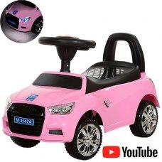Толокар-каталка Audi на колесах с резиновым покрытием, Bambi M 3147А-8 розовая