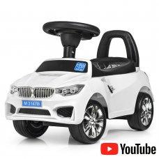 Толокар-каталка BMW на колесах с резиновым покрытием, Bambi M 3147B-1 белая