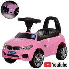 Толокар-каталка BMW на колесах с резиновым покрытием, Bambi M 3147B-8 розовая