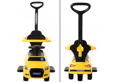 Каталка-толокар Audi 2в1 с бампером и родительской ручкой, Bambi M 3503A(MP3)-6 желтый