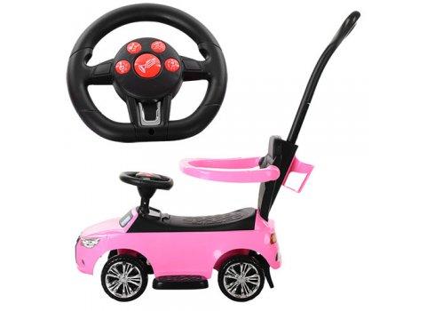 Каталка-толокар Audi 2в1 с родительской ручкой Bambi M 3503A-8 розовый