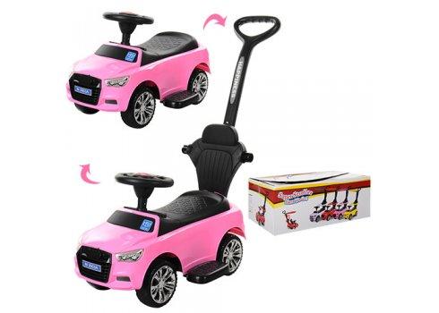 Каталка-толокар Audi 2в1 с бампером и родительской ручкой, Bambi M 3503A(MP3)-8 розовый