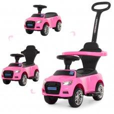 Каталка-толокар Audi 2в1 с бампером и родительской ручкой Bambi M 3503A(MP3)-8 розовый