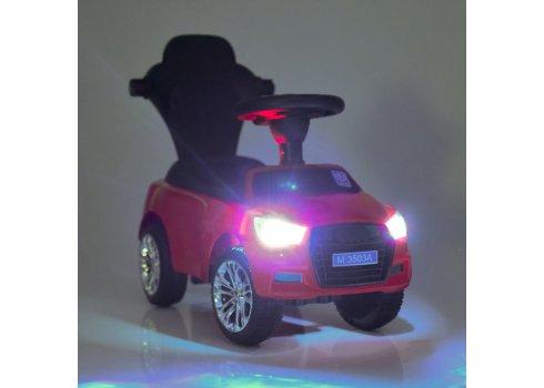 Каталка-толокар Audi 2в1 родительской ручкой Bambi M 3503A(MP3)-3 красный